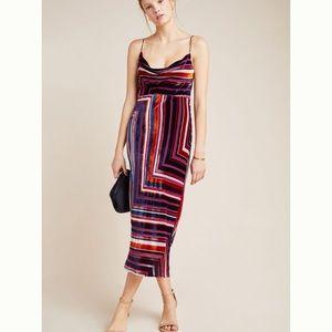 New velvet striped slip midi dress